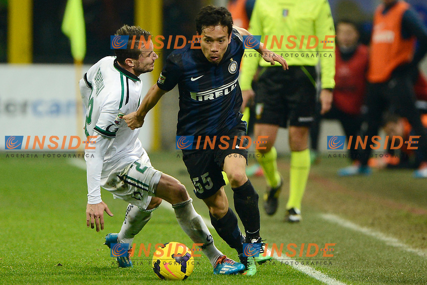 Matteo Brighi Sassuolo, Yuto Nagatomo Inter<br /> Milano 09-02-2014 Stadio Giuseppe Meazza - Football 2013/2014 Serie A. Inter - Sassuolo Foto Giuseppe Celeste / Insidefoto