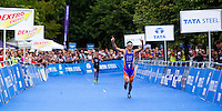25 JUL 2010 - LONDON, GBR - Javier Gomez celebrates victory ahead of Jonathan Brownlee in the mens race of the London round of the ITU World Championship Series triathlon .(PHOTO (C) NIGEL FARROW)