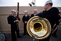 DEL MAR, CA - NOVEMBER 03: Band and color guard get ready to perform the National Anthem on Day 1 of the 2017 Breeders' Cup World Championships at Del Mar Racing Club on November 3, 2017 in Del Mar, California. (Photo by Scott Serio/Eclipse Sportswire/Breeders Cup)