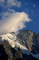 Glaciers on the Barre des Ecrins and Rateau mountains at sunset in the French Alps, France.