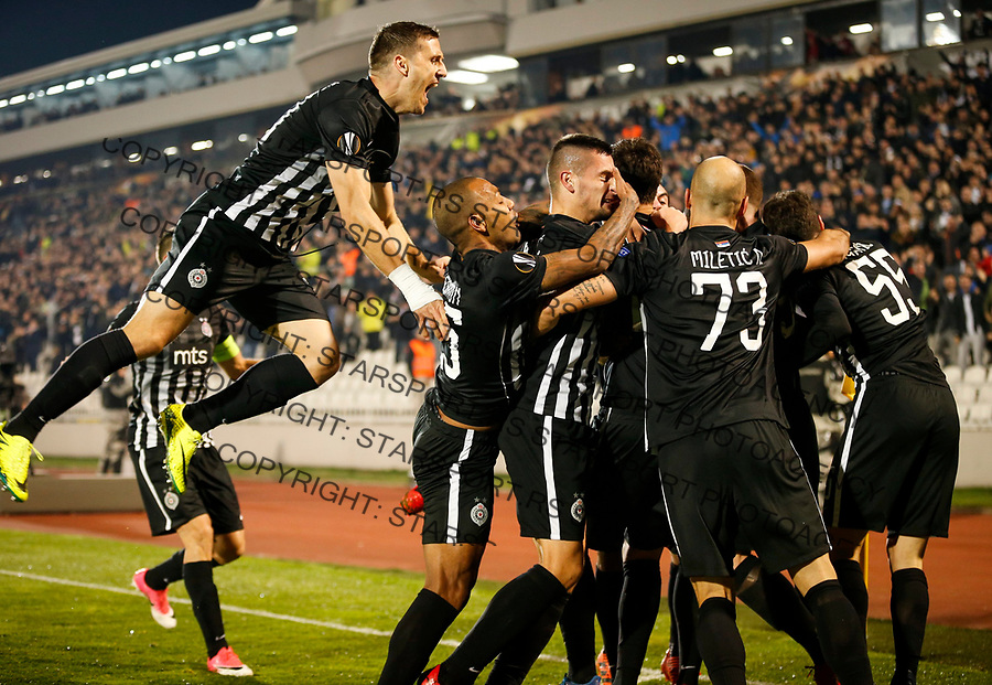 Fudbal UEFA Europa League Group B season 2017-201<br /> Partizan v Young Boys<br /> Leandre Tawamba (C) celebrates scoring a goal with the Nemanja Miletic Everton Milan Mitrovic (L) and Danilo Pantic (R)<br /> Beograd, 23.11.2017.<br /> foto: Srdjan Stevanovic/Starsportphoto &copy;