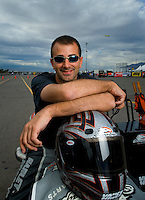 Oct. 31, 2008; Las Vegas, NV, USA: NHRA pro stock motorcycle rider Eddie Krawiec during qualifying for the Las Vegas Nationals at The Strip in Las Vegas. Mandatory Credit: Mark J. Rebilas-