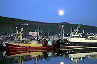 The moon rises above still waters as local boats unload their catch on Dingle Pier on Tuesday night.<br />