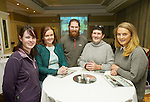 Aisling Ryan, Brid Quigley, Oisin O Dalaigh, Veronica Lynch and Ciara Lynch at the announcement of the winners of the annual Clare Champion Christmas Shop Window Display competition in the Old Ground hotel, Ennis. Photograph by John Kelly.