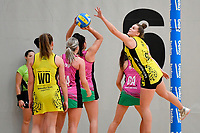Central Manawa&rsquo;s Elle Temu in action during the Beko Netball League - Central Manawa v Southern Blast at ASB Sports Centre, Wellington, New Zealand on Sunday 12 May 2019. <br /> Photo by Masanori Udagawa. <br /> www.photowellington.photoshelter.com