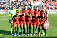 20171024 - PENAFIEL , PORTUGAL :  Portugese team poses for the teampicture with Patricia Morais, Ana Leite , Carolina Mendes , Raquel Infante , Fatima Pinto , Vanessa Marques  ,  Carole Costa ,Tatiana Pinto , Diana Silva , Ana Borges and Dolores Silva  during a women's soccer game between Portugal and the Belgian Red Flames , on tuesday 24 October 2017 at Estádio Municipal 25 de Abril in Penafiel. This is the third game for the  Red Flames during the Worldcup 2019 France qualification in group 6. PHOTO SPORTPIX.BE | DAVID CATRY