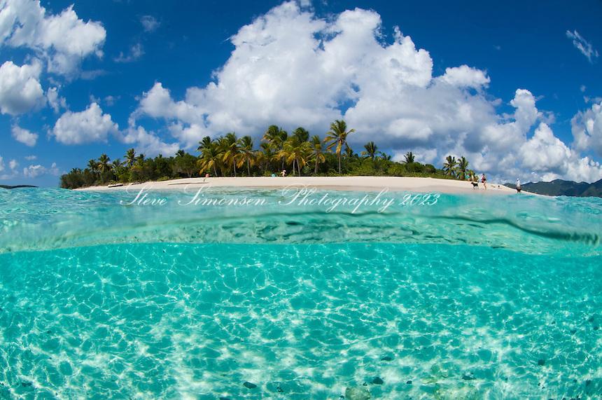 Split level view of Sandy Cay.British Virgin Islands