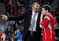 Caja Laboral Baskonia's coach Zan Tabak and Thomas Heurtel during Spanish Basketball King's Cup semifinal match.February 07,2013. (ALTERPHOTOS/Acero)