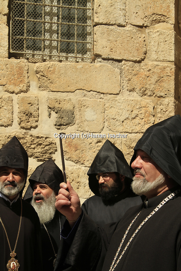 Jerusalem Old City, Armenian Orthodox priests with the key to the door of the Church of the Holy Sepulchre, before the Ceremony of the Holy Light on Holy Saturday