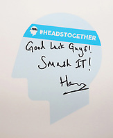 19 April 2017 - Prince Harry's good luck message as he officially opened the Virgin Money London Marathon Expo at ExCel in London. Prince Harry, who is Patron of the London Marathon Charitable Trust, will meet runners and hand out race numbers, along with special edition Heads Together headbands, which is the official Charity of the Year for this year?s marathon. Photo Credit: ALPR/AdMedia