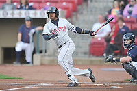 Wisconsin Timber Rattlers center fielder Monte Harrison (3) swings during a game against the Cedar Rapids Kernels at Veterans Memorial Stadium on April 13, 2017 in Cedar Rapids, Iowa.  The Kernels won 2-1.  (Dennis Hubbard/Four Seam Images)