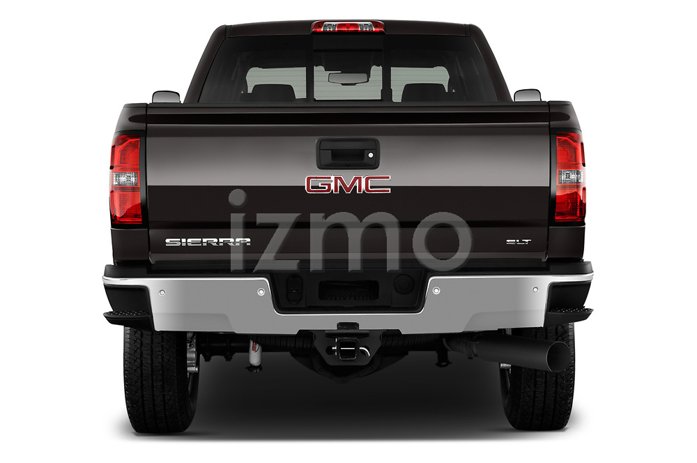 Straight rear view of a 2018 GMC Sierra 3500HD 2WD Crew Cab Standard Box SLT 4 Door Pick Up stock images