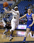 Nevada's Nyasha LeSure drives past Air Force defender Darby Glaab during a women's basketball game in Reno, Nev., on Saturday, Jan. 9, 2016. Nevada won 68-57.<br /> Photo by Cathleen Allison