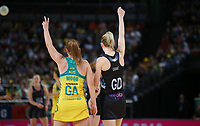14.10.2017 Silver Ferns Katrina Grant and Australia's Stephanie Wood in action during the Constellation Cup netball match between the Silver Ferns and Australia at QudosBank Arena in Sydney. Mandatory Photo Credit ©Michael Bradley.