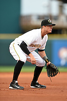 Bradenton Marauders third baseman Walker Gourley (5) during a game against the Palm Beach Cardinals on April 8, 2014 at McKechnie Field in Bradenton, Florida.  Bradenton defeated Palm Beach 4-3.  (Mike Janes/Four Seam Images)