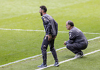 Leeds United's manager Marcelo Bielsa (right) looks on anxiously during the match <br /> <br /> Photographer Andrew Kearns/CameraSport<br /> <br /> The EFL Sky Bet Championship - Swansea City v Leeds United - Sunday 12th July 2020 - Liberty Stadium - Swansea<br /> <br /> World Copyright © 2020 CameraSport. All rights reserved. 43 Linden Ave. Countesthorpe. Leicester. England. LE8 5PG - Tel: +44 (0) 116 277 4147 - admin@camerasport.com - www.camerasport.com