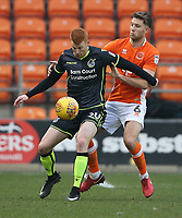 Bristol Rovers' Rory Gaffney shields the ball from Blackpool's Will Aimson<br /> <br /> Photographer Stephen White/CameraSport<br /> <br /> The EFL Sky Bet League One - Blackpool v Bristol Rovers - Saturday 13th January 2018 - Bloomfield Road - Blackpool<br /> <br /> World Copyright &copy; 2018 CameraSport. All rights reserved. 43 Linden Ave. Countesthorpe. Leicester. England. LE8 5PG - Tel: +44 (0) 116 277 4147 - admin@camerasport.com - www.camerasport.com