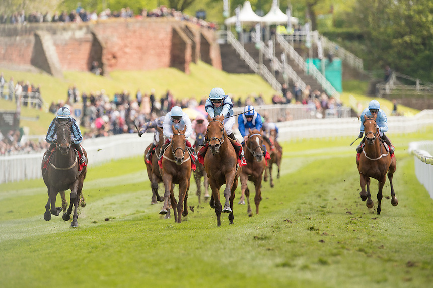 14:10 IG Handicap (4yo+, Class 2, 1m 2f 75y, 12 runners) <br /> Winner Collaboration Trainer A M Balding<br /> Jockey David Probert<br /> <br /> Horse Racing - Boodles Ladies Day - Thursday 7th May 2015 - Chester Racecourse - Chester<br /> <br /> Photographer Terry Donnelly/CameraSport<br /> <br /> &copy; CameraSport - 43 Linden Ave. Countesthorpe. Leicester. England. LE8 5PG - Tel: +44 (0) 116 277 4147 - admin@camerasport.com - www.camerasport.com