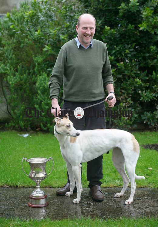 Owner Sean Doyle of Roslevan, Ennis with Pardon Me Boys, which is through to the Oaks competition in Clonmel. Photograph by John Kelly.