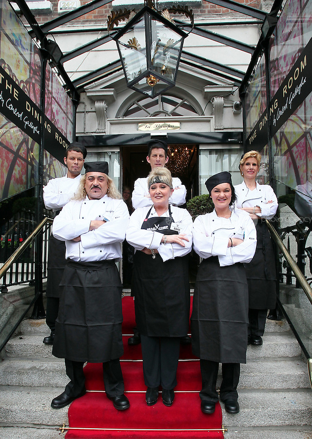 21/06/'11 The six contestants in Celebrity Chef from left, Kohlin Haris, Wagner,Michael Hayes, Adel King, Mary Burke and Geraldine O'Callaghan outside Chef Conrad Gallagher of TV3's Celebrity Head Chefs   'Dining Room' Restaurant...NO REPRODUCTION FEE PIC...Picture Colin Keegan, Collins, Dublin.