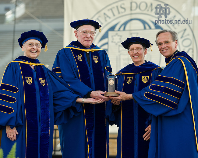 May 19, 2013; 2013 Laetare Medalists Sister Mary Therese Harrington, S.H., Rev. James H. McCarthy, and Sister Susanne Gallagher, S.P., founders of the Special Religious Education Development Network (SPRED) pose with University of Notre Dame President Rev. John I. Jenkins, C.S.C. after being awarded the Laetare Medal at the 2013 Commencement ceremony in Notre Dame Stadium...Photo by Matt Cashore/University of Notre Dame