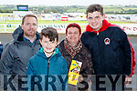 Philip O'Shea, Adam Egan, Helen Moriarty, Nathan Moriarty O'Shea, all from Tralee, pictured at Listowel Races on Sunday last.