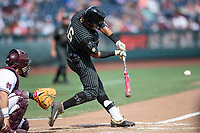 Vanderbilt Commodores third baseman Austin Martin (16) swings the bat during Game 8 of the NCAA College World Series against the Mississippi State Bulldogs on June 19, 2019 at TD Ameritrade Park in Omaha, Nebraska. Vanderbilt defeated Mississippi State 6-3. (Andrew Woolley/Four Seam Images)