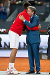 Serbian Novak Djokovic and Manolo Santana during  TPA Finals Mutua Madrid Open Tennis 2016 in Madrid, May 08, 2016. (ALTERPHOTOS/BorjaB.Hojas)