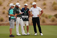Shane Lowry (IRL) and Brooks Koepka (USA) on the 13th during Round 2 of the Saudi International at the Royal Greens Golf and Country Club, King Abdullah Economic City, Saudi Arabia. 31/01/2020<br /> Picture: Golffile | Thos Caffrey<br /> <br /> <br /> All photo usage must carry mandatory copyright credit (© Golffile | Thos Caffrey)