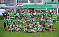 The Manawatu team pose for a group photo after the Under-14 representative rugby match between Manawatu (green and white) and Horowhenua-Kapiti (red white and blue) at Arena Manawatu, Palmerston North, New Zealand on Saturday, 5 September 2015. Photo: Dave Lintott / lintottphoto.co.nz