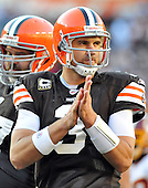 Landover, MD - October 19, 2008 -- Cleveland Browns quarterback Derek Anderson (3) looks to the bench for a play in the second quarter against the Washington Redskins at FedEx Field in Landover, Maryland on Sunday, October 19, 2008.  The Redskins won the game 14 - 11..Credit: Ron Sachs / CNP