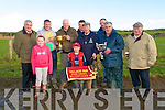 Billy Dunne, Ladies Walk Ballyduff, third from left back, owner of Hawk Landing, winner of the Village Inn Perpetual Cup on Sunday last at Ballyduff accepts the cup. Front; Aoife Allen, Dean Allen..Back; Brian Divilly, Brendain Purcell, Billy Dunne, Kenneth Allen, Pat O Connor, Dan Lynch, Tom OSullivan, Michael Allen