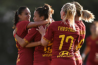 Annamaria Serturini of AS Roma  (2L) celebrates with team mates Andressa Alves Da Silva , Amalie Thestrup and Andrine Stolsmo Hegerberg after scoring the goal of 1-2 <br /> Roma 8/9/2019 Stadio Tre Fontane <br /> Luisa Petrucci Trophy 2019<br /> AS Roma - Paris Saint Germain<br /> Photo Andrea Staccioli / Insidefoto