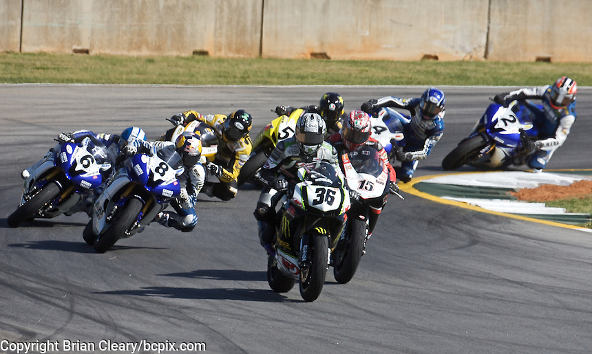 Martin Cardenas (36) leads a pack of motorcycles at the AMA Superbike Showdown at Road Atlanta, Braselton, GA, April 2010.  (Photo by Brian Cleary/www.bcpix.com)