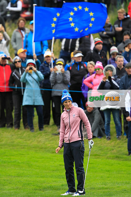 Anne Van Dam of Team Europe on the 1st fairway during Day 2 Fourball at the Solheim Cup 2019, Gleneagles Golf CLub, Auchterarder, Perthshire, Scotland. 14/09/2019.<br /> Picture Thos Caffrey / Golffile.ie<br /> <br /> All photo usage must carry mandatory copyright credit (© Golffile | Thos Caffrey)