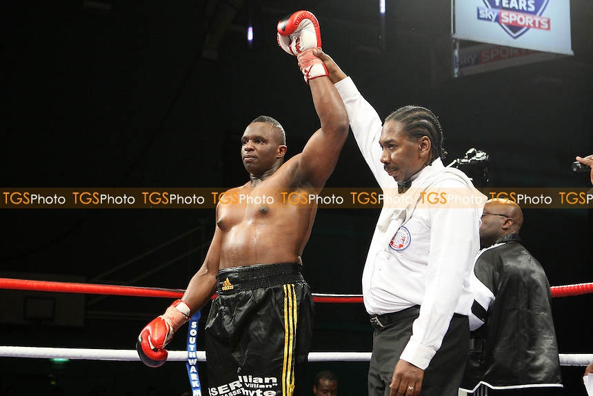 Dillian Whyte (black shorts) defeats Taya Mehmed (red shorts) in a Heavyweight boxing contest at Medway Park, Gillingham, promoted by Frank Maloney - 13/05/11 - MANDATORY CREDIT: Gavin Ellis/TGSPHOTO - Self billing applies where appropriate - Tel: 0845 094 6026
