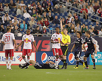 New York Red Bulls defender Roy Miller (7) receives red card, the second for the New York Red Bulls. The New England Revolution defeated the New York Red Bulls, 3-2, at Gillette Stadium on May 29, 2010.