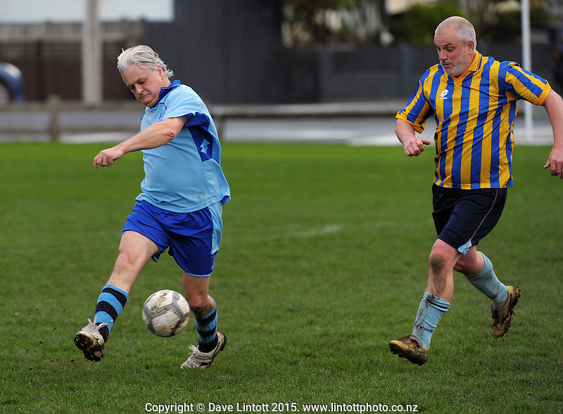 Action from the Capital Football veterans division 5 match between Seatoun (sky blue) and Porirua City (blue and yellow) at Crawford Green, Wellington, New Zealand on Saturday, 1 August 2015. Photo: Dave Lintott / lintottphoto.co.nz