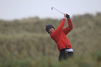 Tom Flanagan (Co. Sligo) on the 13th tee during Round 2 of the Ulster Boys Championship at Portrush Golf Club, Portrush, Co. Antrim on the Valley course on Wednesday 31st Oct 2018.<br /> Picture:  Thos Caffrey / www.golffile.ie<br /> <br /> All photo usage must carry mandatory copyright credit (&copy; Golffile | Thos Caffrey)