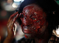 People take part during the Zombiecon party in New York, United States. 20/10/2012. Photo by Kena Betancur/VIEWpress.