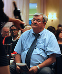 Tom Nocket seen during the wine auction segment of the Greystone Programs' 27th Annual International Wine Showcase & Auction, held at The Grandview, in Poughkeepsie, NY, on Sunday, October 2, 2016. Photo by Jim Peppler; Copyright Jim Peppler 2016.