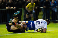 Jamie Roberts of Bath Rugby scores a try in the second half. Pre-season friendly match, between Edinburgh Rugby and Bath Rugby on August 17, 2018 at Meggetland Sports Complex in Edinburgh, Scotland. Photo by: Patrick Khachfe / Onside Images