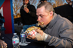 WATERBURY, CT. 12 January 2020-011220BS15 - Baked potato contestant Steve Shircliff dives right in getting a mouthful of potato, during the baked potato eating contest at the Little Puerto Rico Restaurant on Sunday. The person who ate the whole potato, skin and all, the fastest, won $50 and a championship belt. Bill Shettle Republican-American