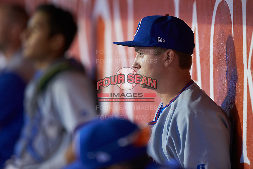 South Bend Cubs relief pitcher Garrett Kelly (37) watches from the dugout during the game against the Lansing Lugnuts at Cooley Law School Stadium on June 15, 2018 in Lansing, Michigan. The Lugnuts defeated the Cubs 6-4.  (Brian Westerholt/Four Seam Images)