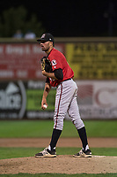 Billings Mustangs relief pitcher Andrew McDonald (48) looks in for the sign during a Pioneer League game against the Ogden Raptors at Lindquist Field on August 17, 2018 in Ogden, Utah. The Billings Mustangs defeated the Ogden Raptors by a score of 6-3. (Zachary Lucy/Four Seam Images)