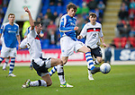 St Johnstone v Dundee.....02.01.13      SPL.Murray Davidson tackled by Lewis Toshney.Picture by Graeme Hart..Copyright Perthshire Picture Agency.Tel: 01738 623350  Mobile: 07990 594431
