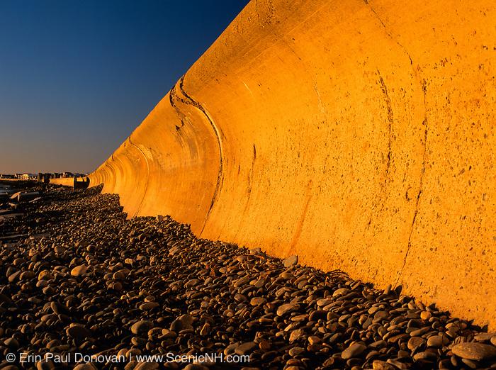 The North Wall at Hampton Beach, New Hampshire USA at sunrise
