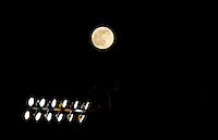 Calcio, finale Tim Cup: Milan vs Juventus. Roma, stadio Olimpico, 21 maggio 2016.<br /> The Moon is seen on the sky during the Italian Cup final football match between AC Milan and Juventus at Rome's Olympic stadium, 21 May 2016.<br /> UPDATE IMAGES PRESS/Isabella Bonotto