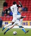 St Johnstone v Inverness Caley Thistle...02.05.15   SPFL<br /> Steven Anderson tackles Edward Ofere<br /> Picture by Graeme Hart.<br /> Copyright Perthshire Picture Agency<br /> Tel: 01738 623350  Mobile: 07990 594431