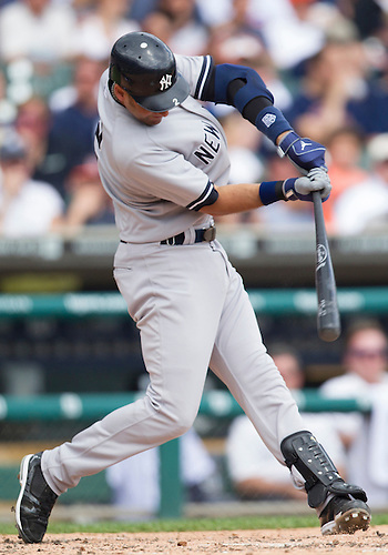 June 03, 2012:  New York Yankees shortstop Derek Jeter (2) at bat during MLB game action between the New York Yankees and the Detroit Tigers at Comerica Park in Detroit, Michigan.  The Yankees defeated the Tigers 5-1.
